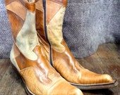 Women's Vintage Western Cowboy Boots Brown Patch Size 38 Leather Italian