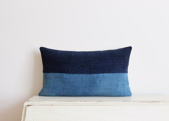 "Two tone indigo colour block pillow cushion cover 12"" x 20"""