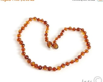 15% OFF THRU OCT Baltic Amber Baby Teething Cognac Color Necklace, Rounded Amber Beads