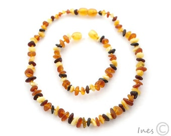 Raw Unpolished Multi Color Baltic Amber Baby Teething Necklace and Bracelet/Anklet