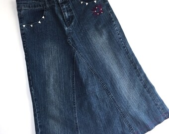 Upcycled Girls Denim Skirt with Embroidered Hearts, Made from Jeans, Size 14, Jean Skirt - Recycled Jeans- Girls Skirt- Repurposed Jeans