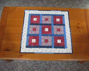 Quilted Table Topper, Patriotic Red White Blue, Square-in-Square