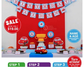 Vintage Red Racing Car Birthday Party Package Personalized FULL Collection Set  - PRINTABLE DIY - PS807CA1x