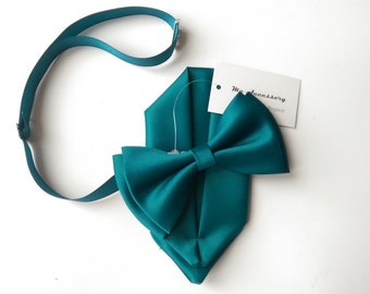 Adult & Kids sizes teal bow tie with pocket square set