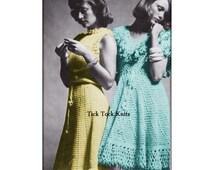 No.512 Women's Dress Crochet Patterns PDF - Two Flounce-Skirt Dresses - 1970's Vintage Retro Crochet Pattern - Teens