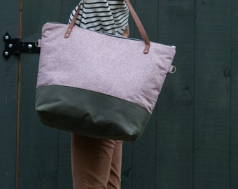 Weekender Tote Bag in Rust Linen & Brown Waxed Canvas