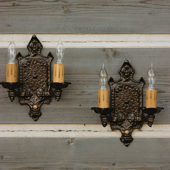 Iron Wall Lights FREE SHIPPING Antique Iron Tudor Sconces