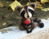 Needle Felted Raccoon - Original artwork designed and created- by Golden Thread Design