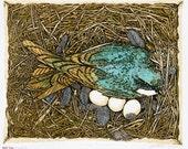 "Raising Swallows Fine Art Linocut Relief Print, Original Art, 10-Color 9"" x 11"", subdued Woodland Color, Nest Box, Tree Swallow conservation"