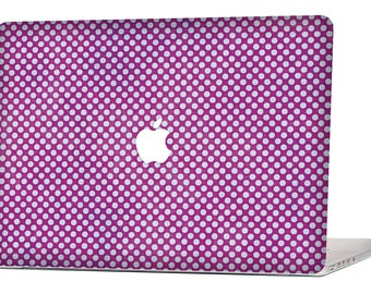 "Apple Macbook Air 11"" 13"" Decal Skin Cover and Apple Macbook Pro Retina 12"" 13"" 15"" Decal Skin Cover - Purple Polka Dots 3"
