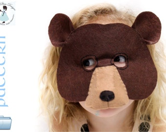 Bear mask etsy kids bear mask pdf pattern pronofoot35fo Gallery