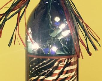 Lighted Bottle American Flag