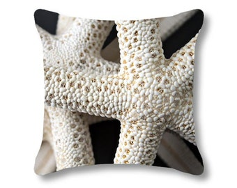 Starfish Pillow, Beachy Pillow Beach Photography Cushion Cover, Neutral Cream Beige White, Nautical Tropical Marine Decorative Cottage Decor