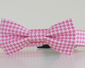 Bow Tie Dog Collar PInk White Houndstooth Wedding Accessories Made to Order