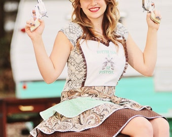 Pin Up Apron - Simply Southern - 2 Pistol - Southern Sayings - Womens Flirty Apron - Housewarming Gift - Gift Ideas for Her Anniversary