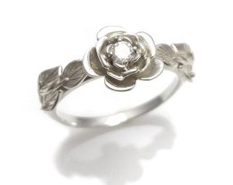 Flower Ring, Rose Engagement Ring, Leaves & Flower Ring, Flower Engagement Ring, Vintage, Diamond Leaves Ring, Flower Band, Rose Ring