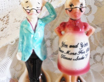 Vintage Enesco Salt and Pepper Shakers, Comical Novelty Kitsch, Pregnant Grandma