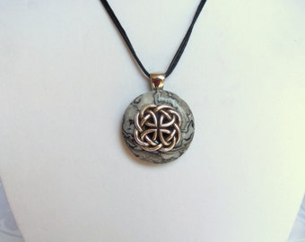 CELTIC KNOT NECKLACE Celtic Pendant set on Dolomite Stone, Celtic Gift, Celtic Jewelry, Man Celtic Necklace, Celtic Knot Pendant,