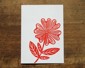 Single hand printed Flower card, linocut, red ink