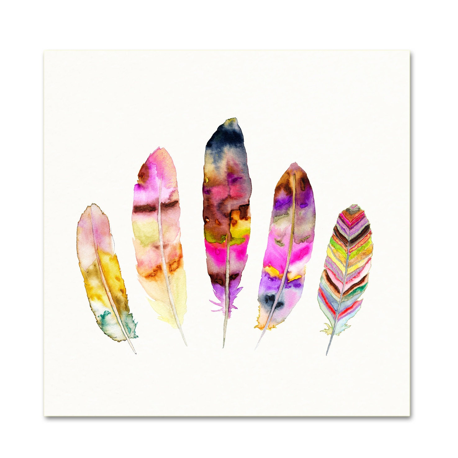 Feather illustration boho decor pink watercolor wall art - Cuadros posters laminas ...