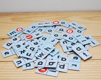 Vintage letter tiles, Crossword Domines, 50 cardboard game pieces, black letters on blue background