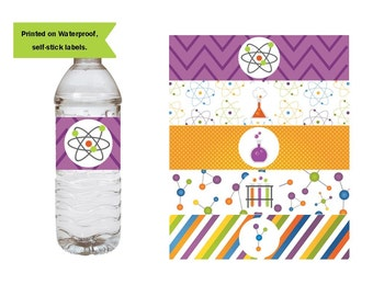 Science Birthday Party Water Bottle Labels, Waterproof Labels, Scientist Party Decorations, Chemistry Party