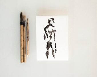 Original male nude ink art drawing-Back nude ink drawing modern art,male pose, nude painting on paper, nude ink drawing, minimal nude art
