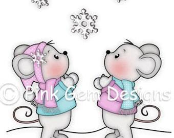 Digi Stamp 'Snowflake Wonder'  - Mouse, Mice, Makes Cute Christmas Cards, Invitations etc