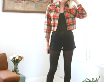 Vintage Red Plaid Jacket Houndstooth Cropped Pointed Collar