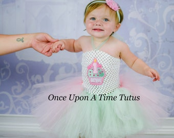 First Birthday Pink Mint Green Tutu Dress - Little Girls or Toddler Size Baby 6 9 12 18 24 Months 2T Pastel Colors White - Cupcake Candle