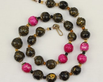 Handmade NATURAL Clay Beads Necklace  FREE Earrings Hand Painted Multi Colour Lariat. Kazuri Type. MapenziGems NCS05