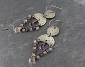 Wire Wrapped Sterling Silver Amethyst & Rose Quartz Chandelier Earrings. Rose Quartz and Amethyst Chandelier Earrings. Antique Finish