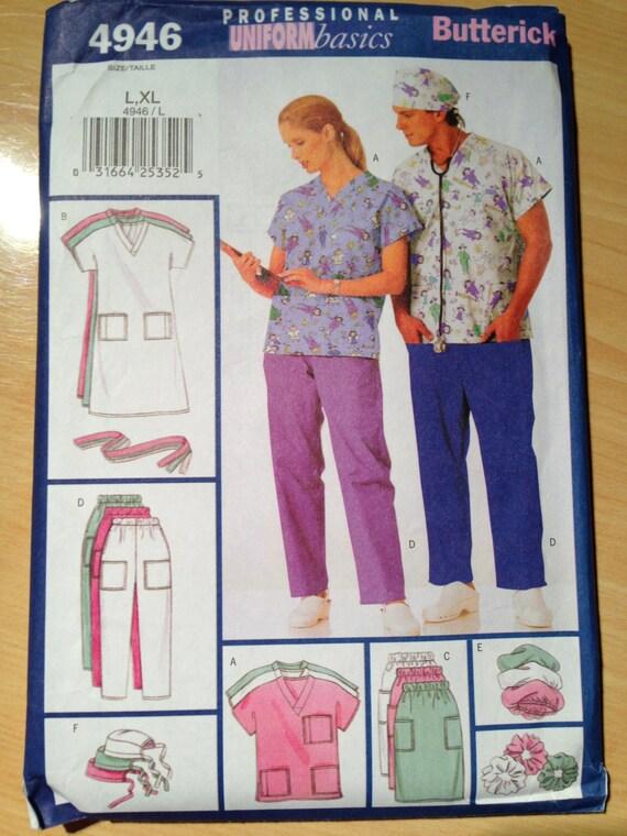 Butterick 4946 Sewing Pattern UNCUT Unisex Uniform - Dress, Belt, Top, Skirt, Pants, Hat and Ponytail Holder Size L-XL