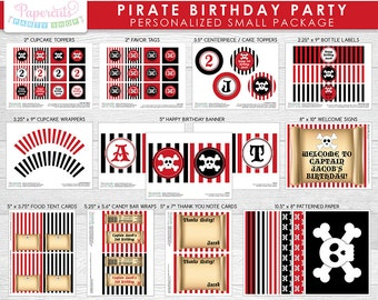 Pirate Theme SMALL Birthday Party Package | Red & Black | Personalized | Printable DIY Digital File