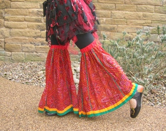 Tribal belly dance flares practice wear or costume, eco upcycled cotton festival clothing, boho gypsy fashion. Unique design leg wear