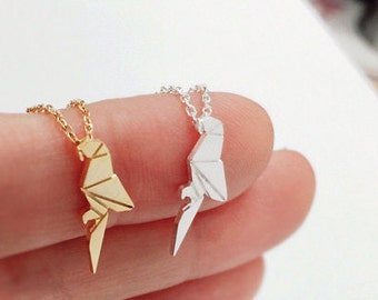 parrot necklace, bird necklace, christmas gift, best friend necklace, child necklace, tiny necklace, Origami parrot,animal necklace