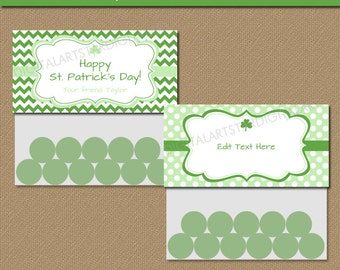 Editable St Patricks Day Goodie Bag Toppers - Printable Treat Bag Topper Template - St Patricks Day Candy Bag Toppers - Instant Download PDF