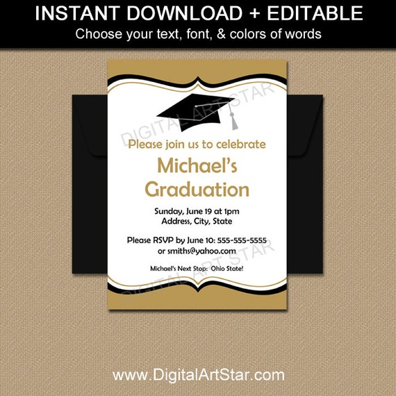 editable graduation invitations printable by digitalartstar. Black Bedroom Furniture Sets. Home Design Ideas