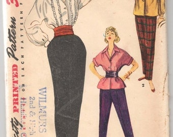 """1950's Simplicity Blouse, Overblouse and Pants Pattern - Bust 31"""" - No. 4464"""