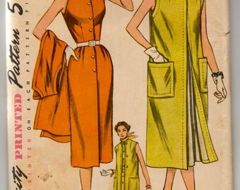 """1950's Simplicity One-Piece Dress and Coat Pattern - Bust 34"""" - UC/FF - No. 8403"""