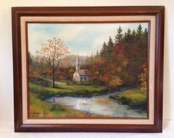 """Vintage """"COUNTRYSIDE CHURCH LANDSCAPE"""" by Doraine Priest Signed Framed Oil Painting"""