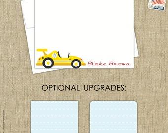 race car stationery set note cards. set of 15