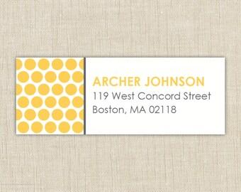 Return Address Labels. Return address label sticker. Polka Dot