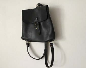 Black leather Charles et Charlus backpack, vintage