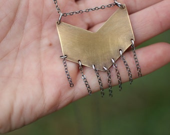 Brass Chevron Necklace, Fringe Necklace, Arrow Necklace, Mixed Metal Jewelry