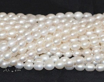 "Freshwater Pearl White 7x8mm Rice Oval AA Quality - 16"" Strand"