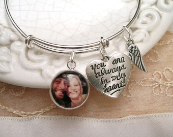 Custom Photo Memory Charm Bracelet Always in my Heart with Angel Wing Alex & Ani inspired Stackable bangle bracelet