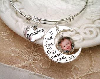 I Love You to the Moon & Back Photo Charm Bracelet, Valentine's Photo Gift, Bridal Gift, Mom Gift, Grandmom Gift, New Mom