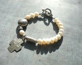 Cross Bracelet, Pearls, Sterling Silver, Handcrafted