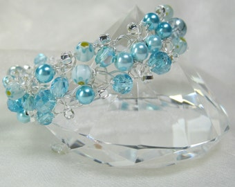 Light Blue Bead Bracelet, Blue and Silver Beaded Crochet Bracelet, handmade crocheted wire jewelry